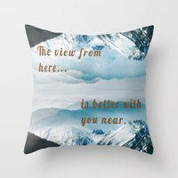 postcard Throw Pillows featuring Mountains Postcard by Darcy Lynn Designs