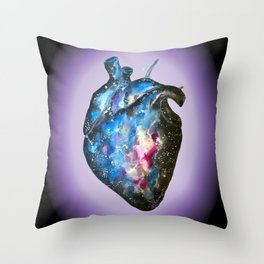 Galaxy anatomical heart Throw Pillow