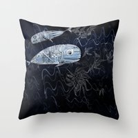 whales Throw Pillows featuring whales by Bunny Noir