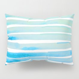 New Year Blue Water Lines Pillow Sham
