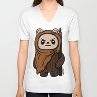 ewok V-neck T-shirts featuring Cartoon Ewok by Team Rapscallion