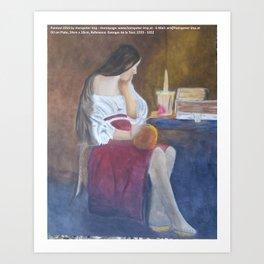 Girl at candle light Art Print