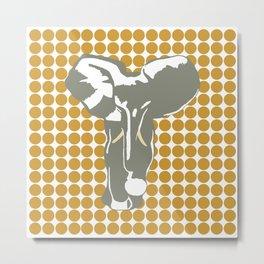 Sudan Brown Safari Dot with Pop Art Elephant Metal Print