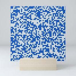 Blue Sapphire Abstract Cracked Grid Pattern Mini Art Print