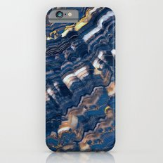 Blue marble with Golden streaks iPhone 6s Slim Case