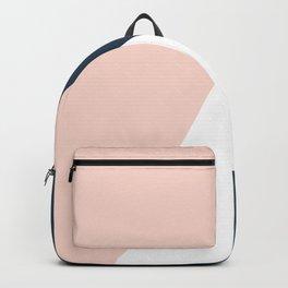 Elegant blush pink & navy blue geometric triangles Backpack