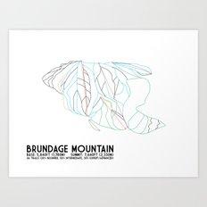 Brundage Mountain, ID - Minimalist Trial Art Art Print