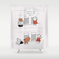 dress Shower Curtains featuring The dress by Wawawiwa design