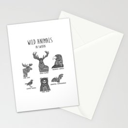 Wild animals in Sweden Stationery Cards