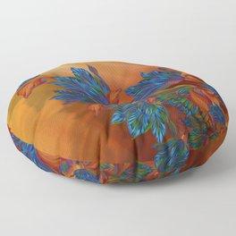 """Blue flowers on orange silk"" (Air Spring at night) Floor Pillow"