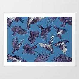 navy birds Art Print
