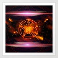 pentagram Art Prints featuring Pentagram  by nicky2342
