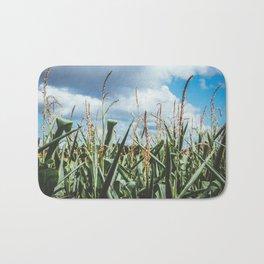 Green yellow Corn field blue sky clouds Bath Mat