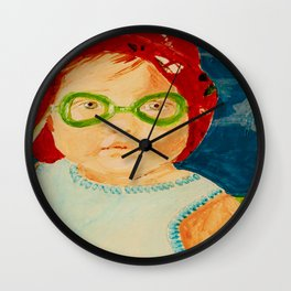 Maddie with Goggles, a painting by Karen Chapman Wall Clock