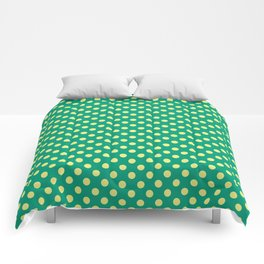 Emerald Green With Yellow Polka Dots Comforters