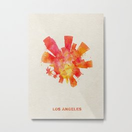 Los Angeles, California Colorful Skyround / Skyline Watercolor Painting Metal Print
