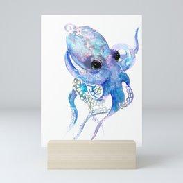 Octopus, sky blue, royal blue sea world underwater scene, beach house art Mini Art Print