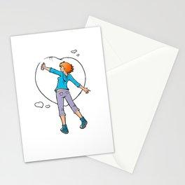 Graffiti Manga Girl spraying heart Stationery Cards