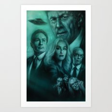 Mulder, Scully, Skinner, Lone Gunmen, Cigarette Smoking Man Art Print