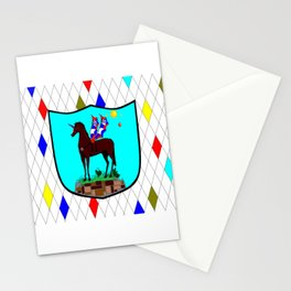 A Mechanical Winged Unicorn with Suns and comet Stationery Cards