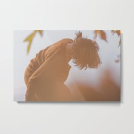[39] Dancing. moving woman in autumn forest, nature, outdoors, yellow color, travel, outdoor, day Metal Print
