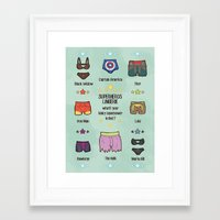 super heroes Framed Art Prints featuring kinky super heroes by Audrey Molinatti