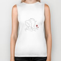 beauty and the beast Biker Tanks featuring Beauty And The Beast by Electra