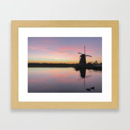 Sunset at Kinderdijk in Holland Framed Art Print
