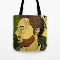watchmen Tote Bags featuring It's Always Sunny in Watchmen - Charlie by Jessica On Paper