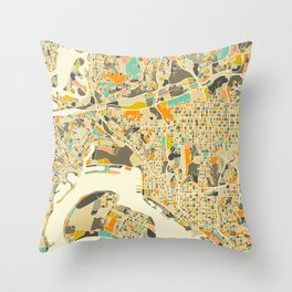 San Diego Map Throw Pillow