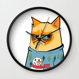 Ginger cat in Holiday Sweater 01 Wall Clock