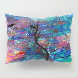 Love Birds Modern Turquoise and Pink Abstract  Wall Art Pillow Sham