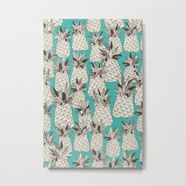 pineapple turquoise sea Metal Print