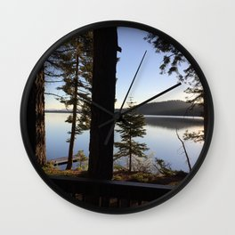 Lake Tahoe cabin view Wall Clock