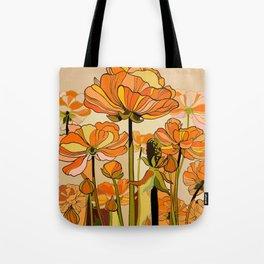 Orange California poppies, mid century, 70s retro, flowers Tote Bag