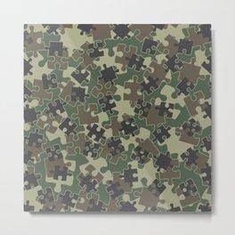 Jigsaw Puzzle Pieces Camo WOODLAND GREEN Metal Print