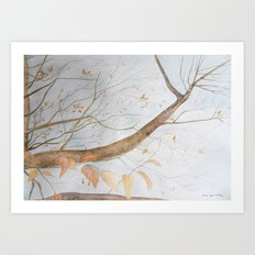 Watercolor under the trees Art Print