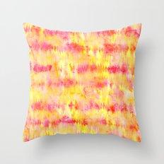 Modern bright boho pink orange tie dye watercolor stripes pattern Throw Pillow