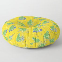 Green Frog On Lily Pad Floor Pillow