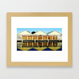 Reflections of a old boat Shed Framed Art Print