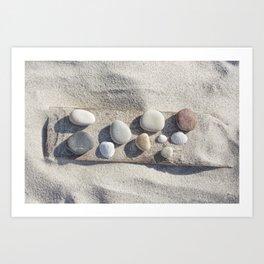 Beach pebble driftwood still life Art Print