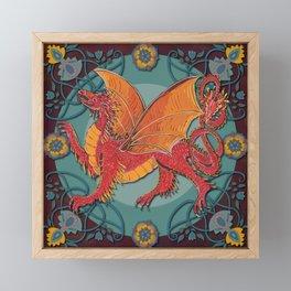 Celtic Medieval Fire Dragon Framed Mini Art Print