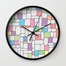 Pastel Stone Wall Wall Clock