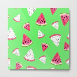 Red Watermelon Slices Pattern On Lime Green Metal Print