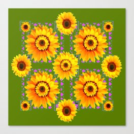 GEOMETRIC SUNFLOWERS AVOCADO-GREEN ART Canvas Print