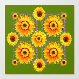GEOMETRIC SUNFLOWERS AVOCADO-GREEN ART Canvas Print