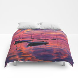 Sunset on the Mooring Field Boats Comforters