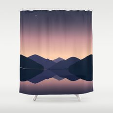 Mountain sunset reflection Shower Curtain
