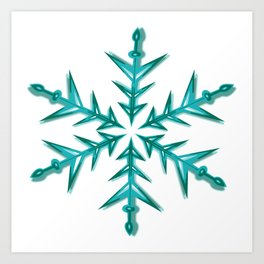 Minimalistic Aquamarine Snowflake Art Print