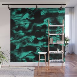 Moody Neon Mint Green Fog All Over Painting Texture with Streaky Leaks. Trendy Abstract Dark Mood Wall Mural